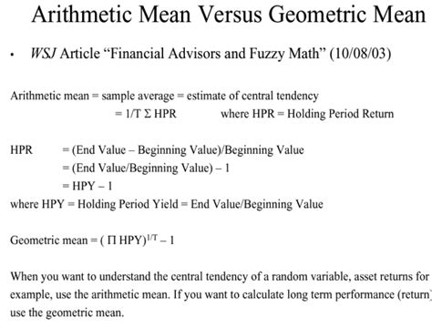 geometric pattern vs arithmetic types of return arithmetic mean v s geometric mean