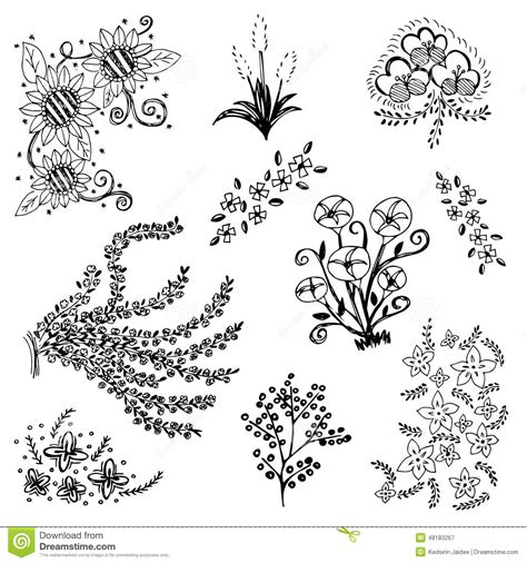 draw doodle for set of flower sketch vector free drawing doodle
