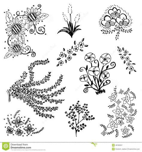 doodle sketching set of flower sketch vector free drawing doodle