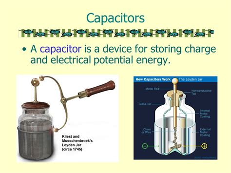 capacitor potential energy capacitors a capacitor is a device for storing charge and electrical potential energy ppt