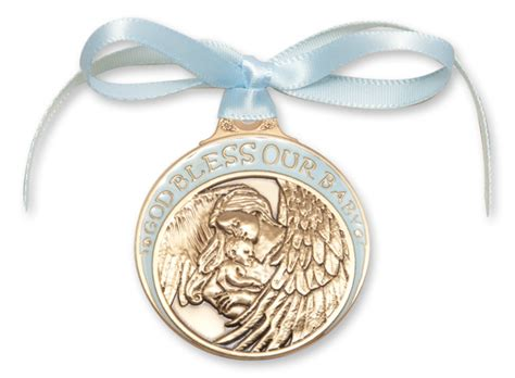 Crib Medals by Blue Enamel God Bless Our Baby Crib Medal Gold