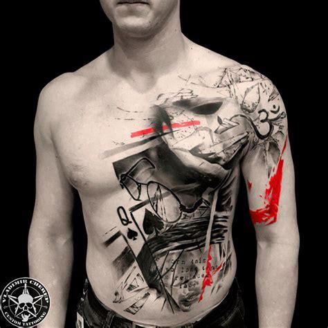 мужская тату треш полька на плече груди и животе фото