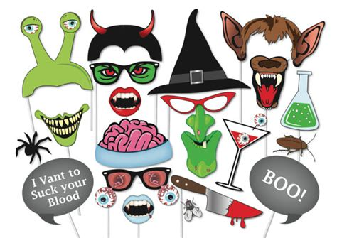 printable photo booth props for halloween items similar to halloween photo booth props set 37