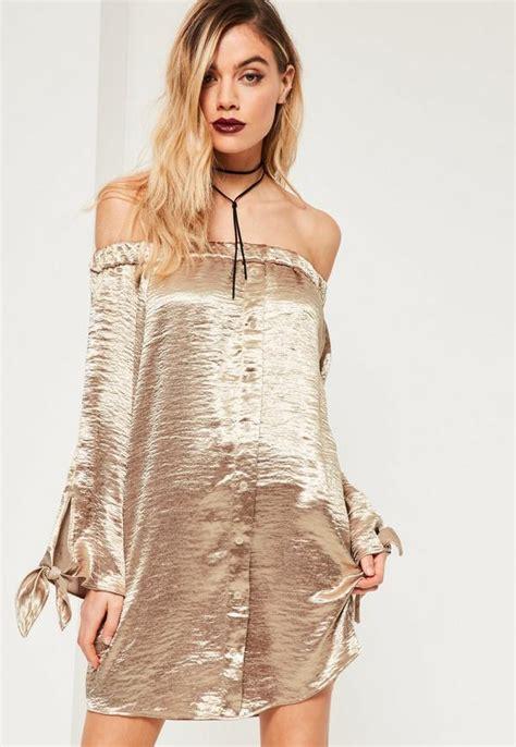 Dress Shiny gold shiny satin bardot button dress missguided