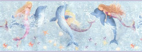 Wall Border Anak Murah Mermaid new mermaids dolphins decor wallpaper border roll ebay