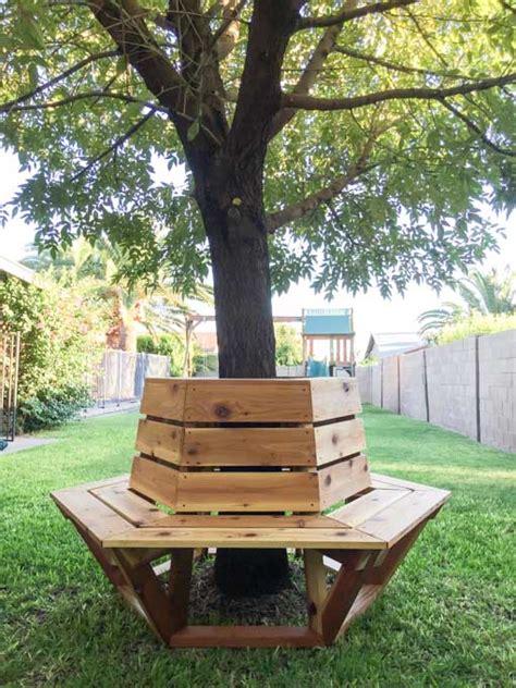 bench around tree plans how to build a hexagon cedar bench cedar bench bench