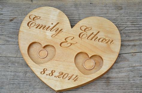 Wedding Ring Holder by 41 00 Usd Personalized Wood Wedding Ring Bearer Rustic