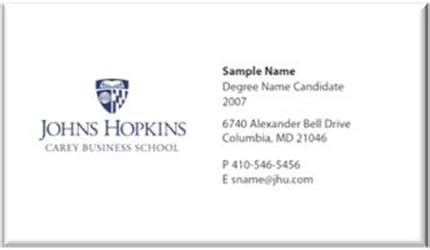 Johns Mba Services Management by Student Business Cards Name Badges Johns Carey