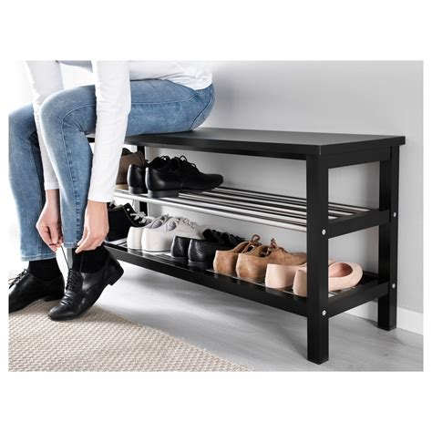 shoe storage bench tjusig bench with shoe storage black 108x50 cm ikea