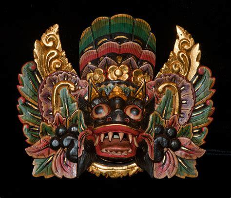 Masker Indo small black ket barong mask crafted by made karsan