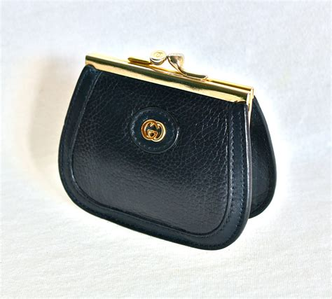 Wrapables Kisslock Coin Wallet by Vintage Gucci Coin Purse Navy Leather Kisslock Wallet