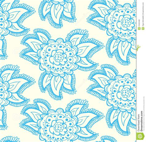 cute ethnic pattern floral decorative lace blue seamless texture back royalty