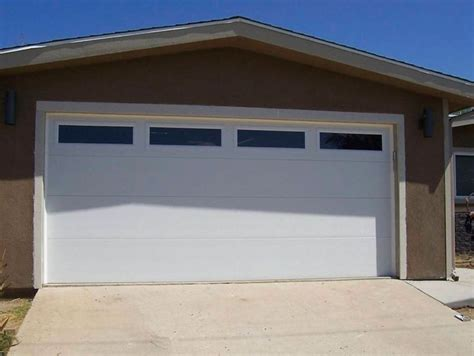 Garage Door Panel With Windows Clopay Flush Panel With 4 Plain Insulated Windows Up Garage Doors Exterior