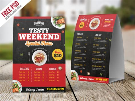 free menu card templates psd restaurant table tent menu psd template psdfreebies