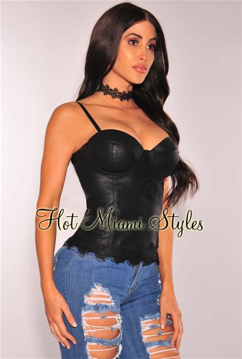 Black Bustier by Black Faux Leather Lace Up Corset Bustier Top