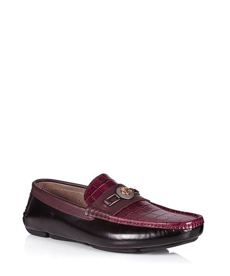 versace loafers versace collection bordeaux contrast leather loafers