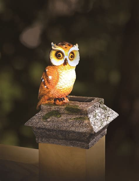 Whimsical Solar Fence Deck Post Cap Buddy Mr Owl Owl Solar Lights