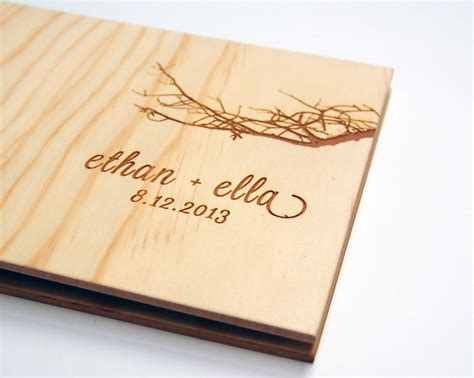 wedding picture guest book wedding guest book album custom wood engagement by lorgie