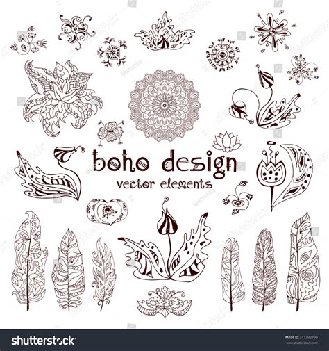 feathers mehndi style vector designs set vector henna set of ornamental boho style elements feathers mandalas