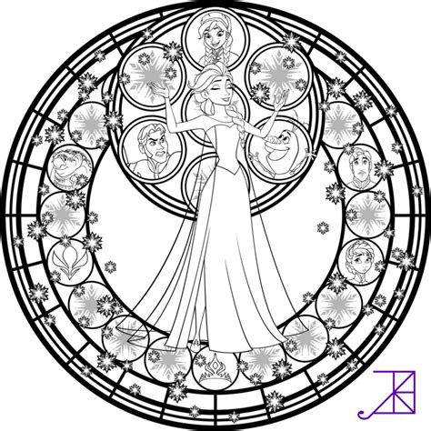 disney mandala coloring pages elsa stained glass line by akili amethyst on