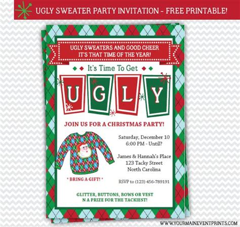 13 Best Images About Ugly Sweater Party On Pinterest Christmas Parties Free Printable And Signs Sweater Invitation Templates Free