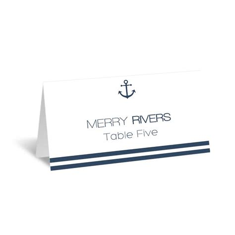 Nautical Place Cards Template by Nautical Wedding Place Card Template Foldover Navy Anchor