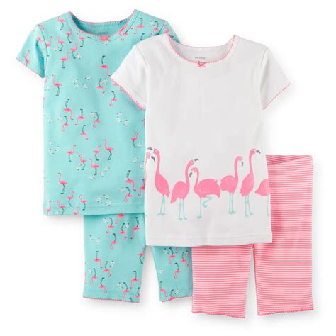 Piyama 4pcs s 4 pcs snug fit pajamas set bright pink flamingos