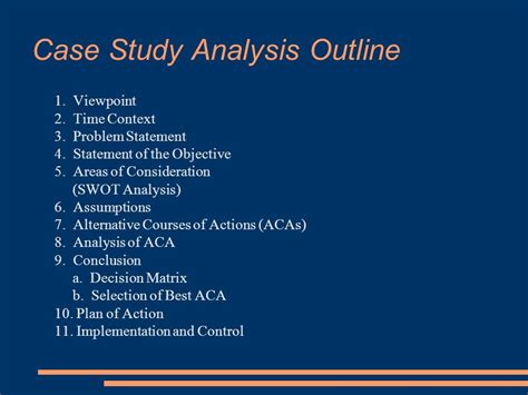 Mba Study Analysis Exle by Mba Study Outline