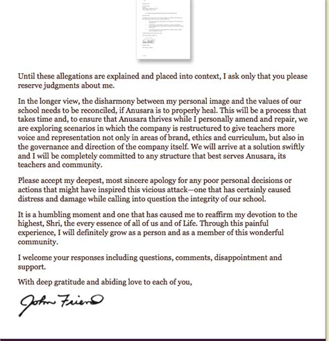 Response Letter To Allegations Friend Response To Allegations A Letter To The Anusara Community Elephant Journal
