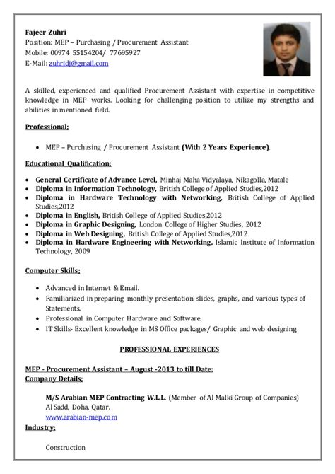 purchasing assistant resume sle fajeer zuhri cv procurement