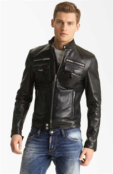 mens moto jacket dsquared 178 chic leather moto jacket in black for men lyst