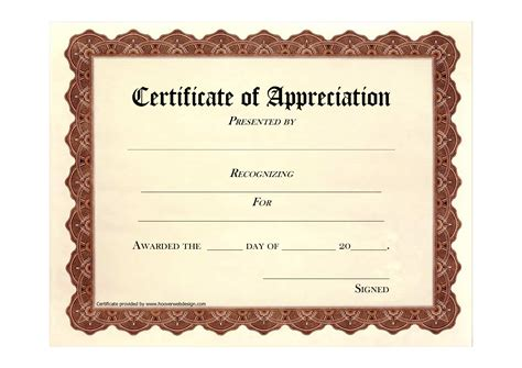 free templates for certificate of appreciation best photos of free printable blank certificate of