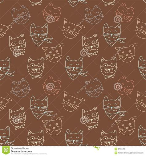 simple pattern brown cat pattern on brown background stock vector
