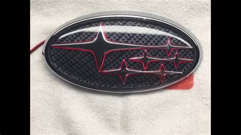 custom subaru emblem carbonfiber background with led rear subaru emblem