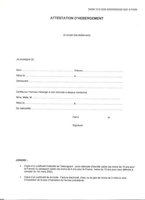 Lettre De Motivation Pour Hebergement Visa modele attestation hebergement pour permis de conduire gratuit