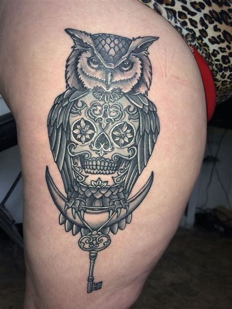 tattoo knoxville tn owl sugar skull done by chris allman synergy