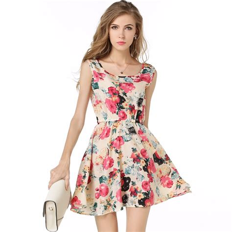Dress Flower Big Size brand fashion dress flower print plus big size casual clothing summer style