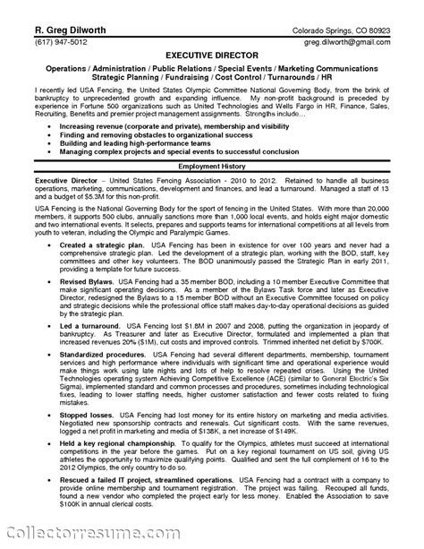 Executive Director Resume by Non Profit Executive Director Resume Sles Of Resumes