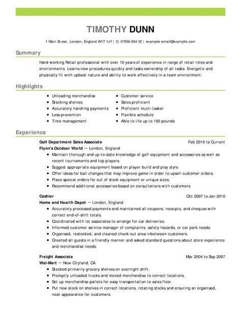 Retail Resume by Retail Resume Exles Retail Sle Resumes Livecareer