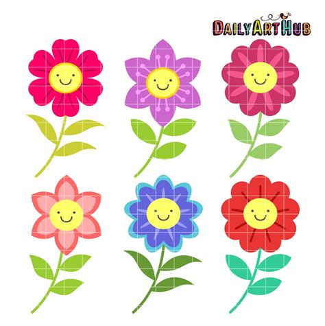 flower clipart happy flowers clip set daily hub