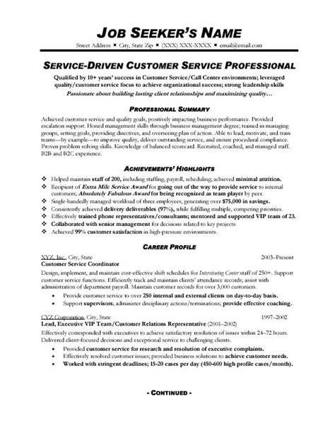 Profile Resume Exles For Customer Service Customer Service Resume Sle