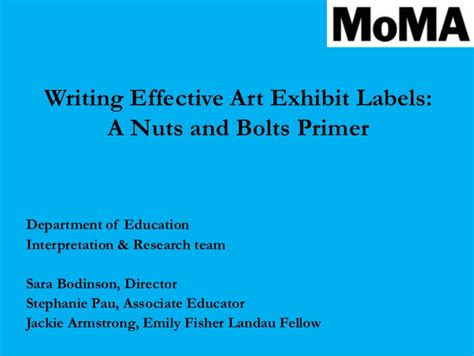 Writing Effective Interpretive Labels For Art Exhibitions A Nuts And Museum Label Template