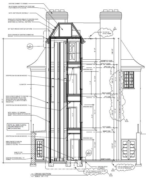 elevator section elevator plan