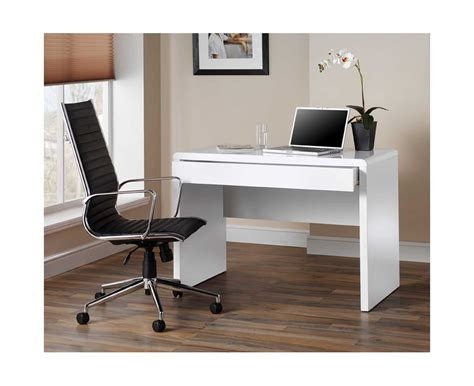 Home Office White Desk Luxor Gloss Workstation Desk With Drawer White Home Office Desks Desks Furniture