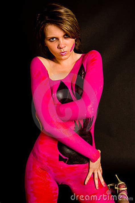 set    young slim women  body art stock