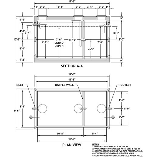 grease trap piping diagram 816 grease interceptor columbia precast products