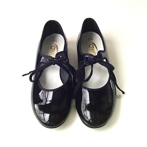 vintage black patent tap shoes