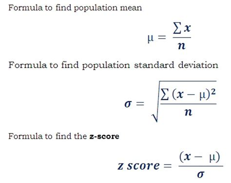 worksheet for how to find out z score value