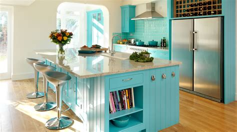 Kitchen Towel Bars Ideas by Turquoise Painted Shaker Kitchen From Harvey Jones