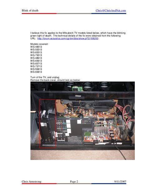 mitsubishi projection tv blinking green light fixing the mitsubishi projection tv blink of